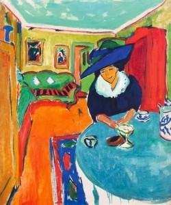 Ernst Ludwig Kirchner, «Dodo am Tisch (Interieur mit Dodo)»